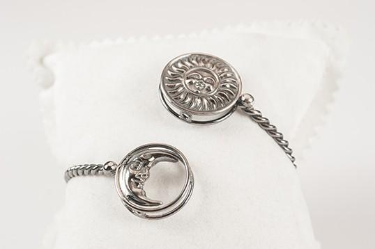 Bracciale Donna in argento brunito con luna