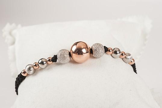 Bracciale donna con pietre dure bianco e rosa argento 925