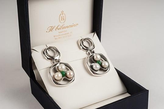 Orecchini donna in argento e smeraldo